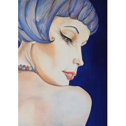 Portrait bleu 110x80cm